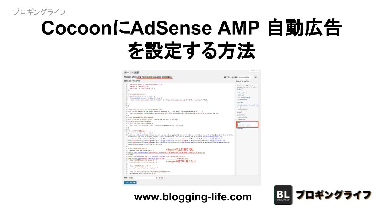 CocoonにAdSense AMP 自動広告 を設定する方法