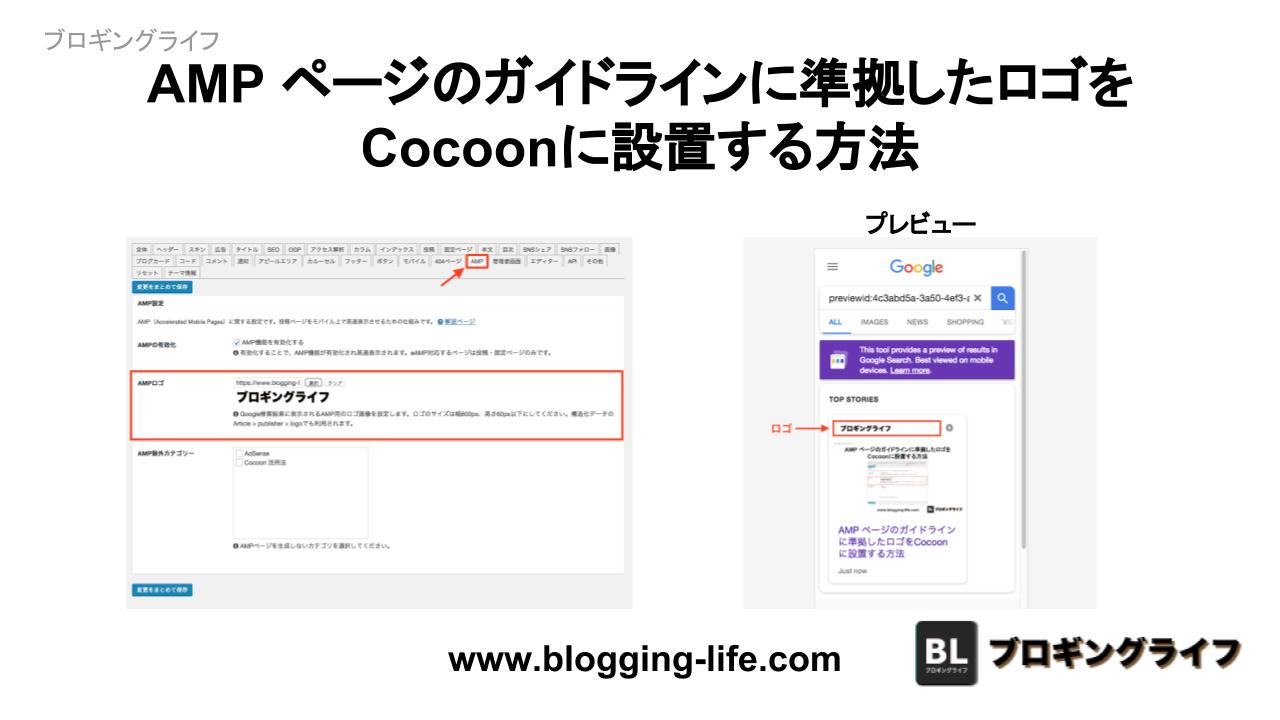 AMP ページのガイドラインに準拠したロゴをCocoonに設置する方法