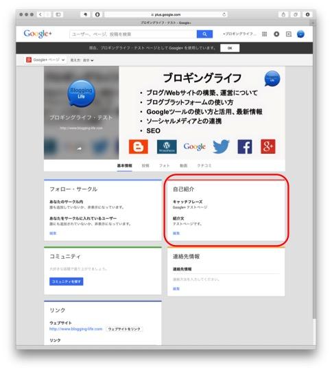Google+ ページ 基本情報の入力