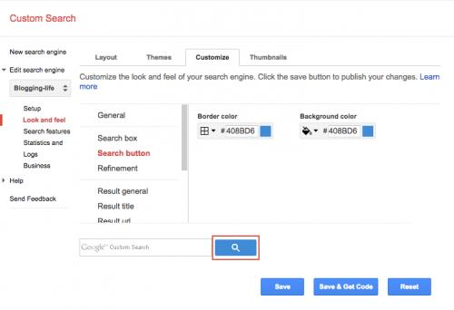 カスタム検索ボタンの色設定