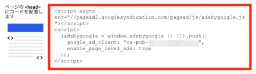 ページ単位の広告コードをコピーする