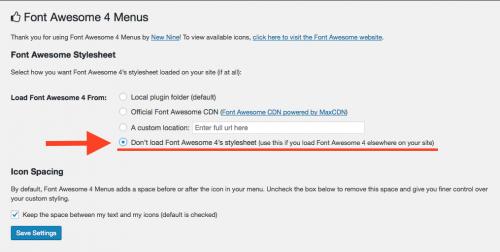 Font Awesome 4 Menusの設定を変更する