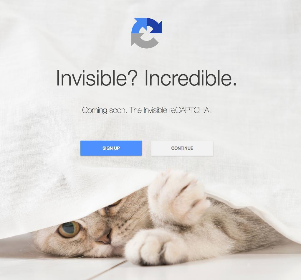 Invisible reCAPTCHA近々リリースの画面