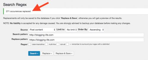 Search Regex置き換え実行後の画面