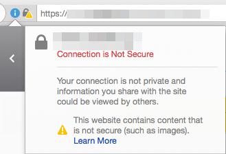 Chromeでの全てが安全な接続でない時のメッセージ表示