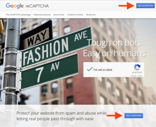 reCAPTCHA ホームページ画面
