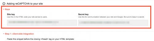 reCAPTCHA登録情報:サイトキーとシークレットキー