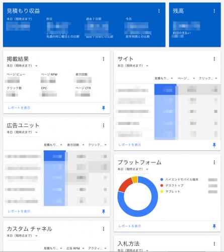 AdSense ダッシュボード画面例