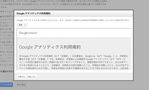 Google アナリティクス利用規約同意確認画面