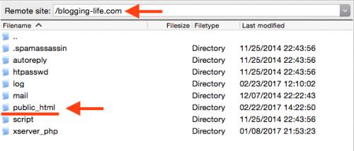 FTPでサーバーにログインし、public_htmlを開く
