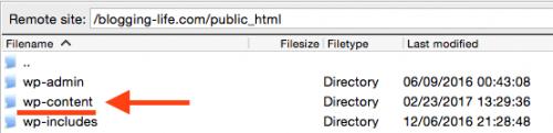 wp-contentディレクトリーを開きます