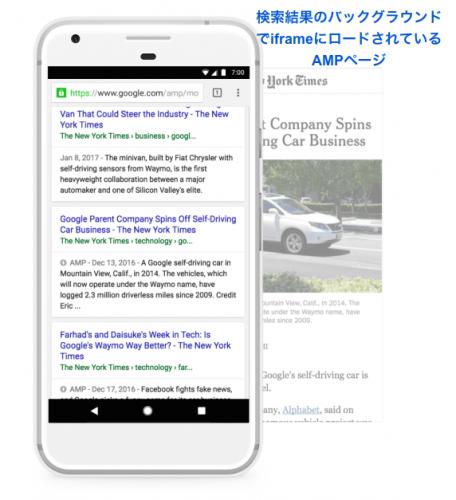 検索結果ページの裏でiframeに予めロードされているAMPページ