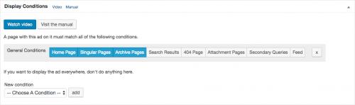 """""""ホームページ""""、""""単独の記事ページ""""、""""アーカイブページ""""での表示設定。"""