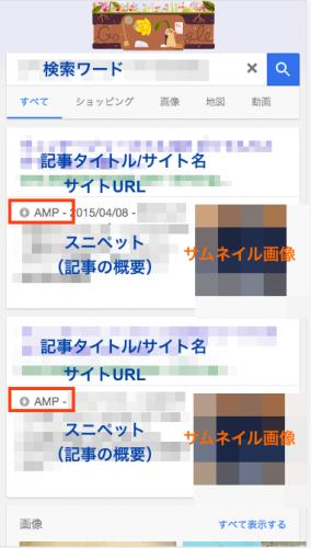 モバイル検索結果ページ例(AMPロゴが表示)