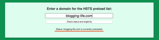 HSTS プリロードリスト登録済みの表示