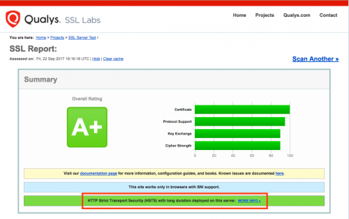 SSL LabsのSSLテストレポート