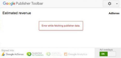 サイト運営者向けツールバーのステータス エラー表示