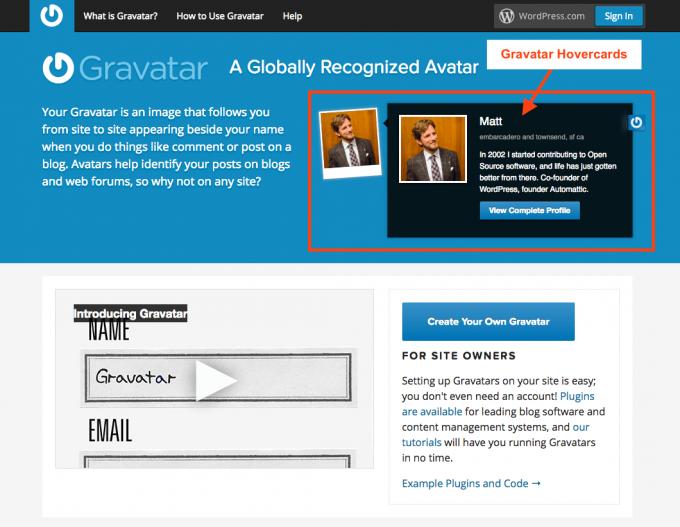 Gravatar ホームページに表示されているMattさんのHovercards