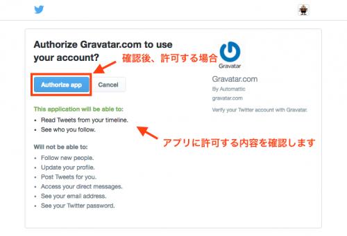 TwitterのGravatar アプリ連携承認画面