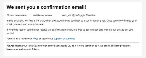 確認メール送付メッセージが表示されます