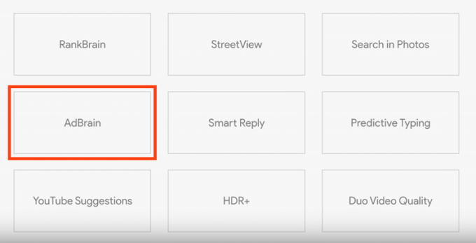 Google I/O 2017 キーノートスピーチのプレゼンテーションスライドにあるAdBrain