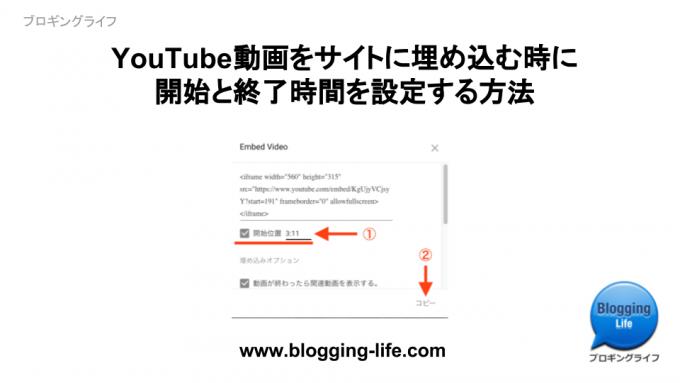 YouTube動画を再生開始、終了時間を設定してサイトに組み込む方法 - 記事バナー