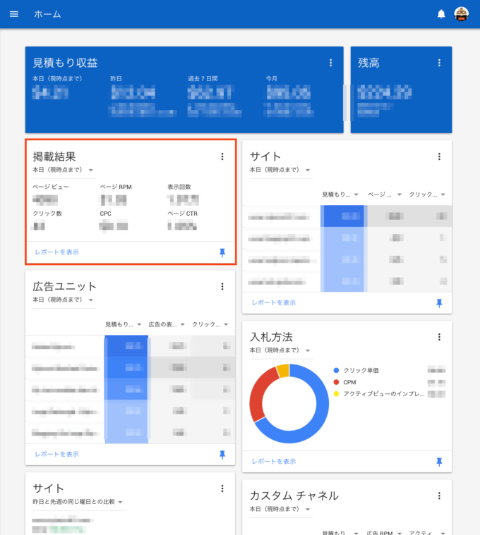 AdSense 管理画面ホーム
