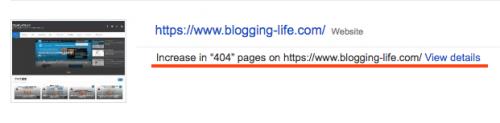 Search Consoleアカウントホームページに表示されているブロギングライフ。メッセージに赤線でハイライト