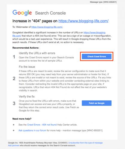 「404」の増加のメッセージの内容、推奨対処手順が記載されています