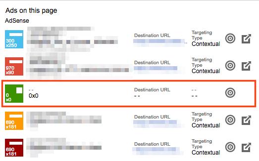 Google Publisher Toolbarで表示される広告ユニットの中に0x0が含まれています