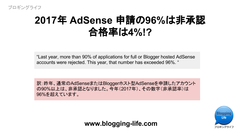 2017年 AdSense 審査通過率はわずか4%