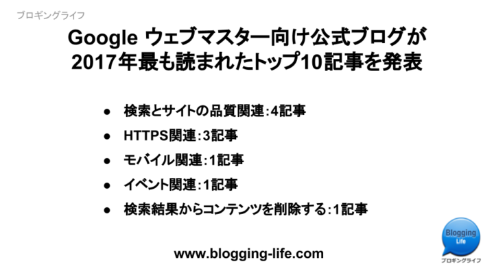 Google ウェブマスター向け公式ブログ 2017年の人気記事トップ10