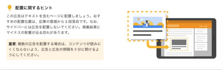 記事内広告のお勧めの設置方法の表示