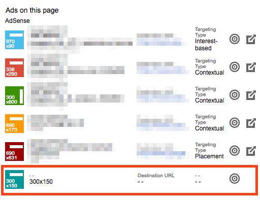 Publisher Toolbarで300x150 のアイコンはページ単位の広告です
