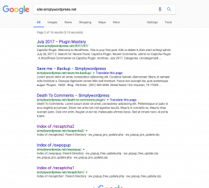 Captcha プラグイン提供サイトsimplywordpress.netのsiteコマンド結果