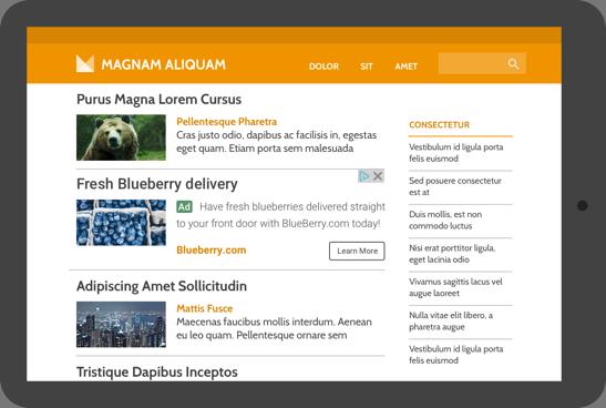 AdSense In-feed 広告表示例:パソコン画面でのサイトのトップページ