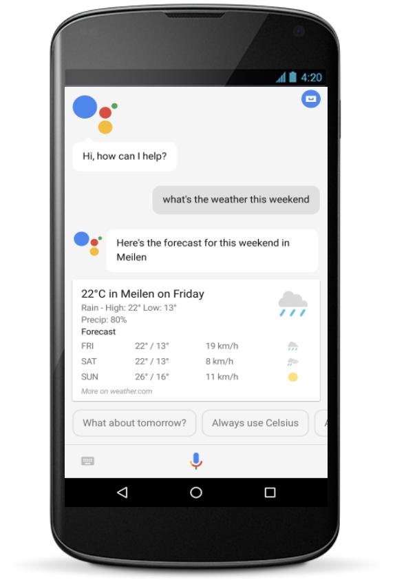 Google アシスタントの電話でのクエリ応答例