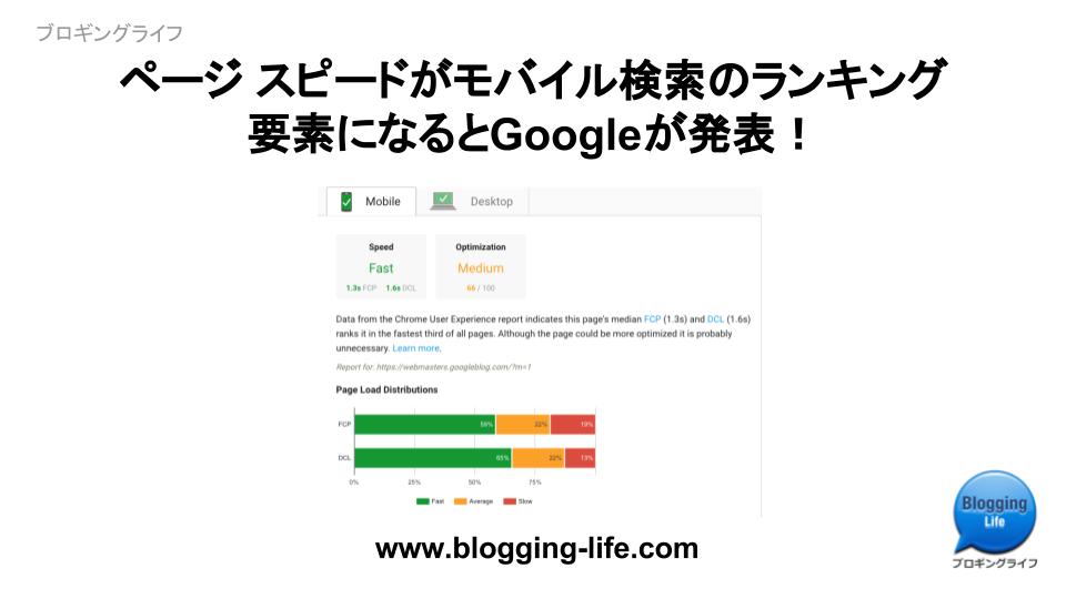 ページ スピードがモバイル検索のランキング要素になるとGoogleが発表!