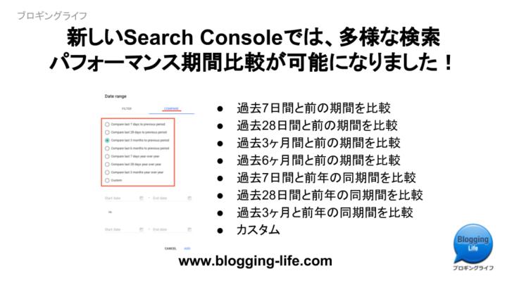 新しいSearch Consoleでは、多様な検索パフォーマンス期間比較が可能になりました!