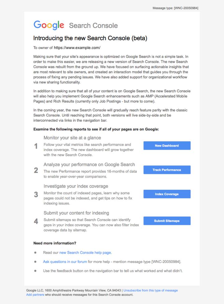 新しいSearch Consoleが利用可能になった通知メール