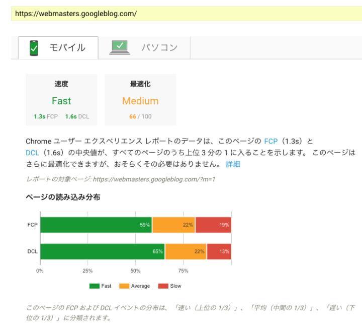 新たに加わったFCPとDCLのPageSpeed Insightsのテスト結果