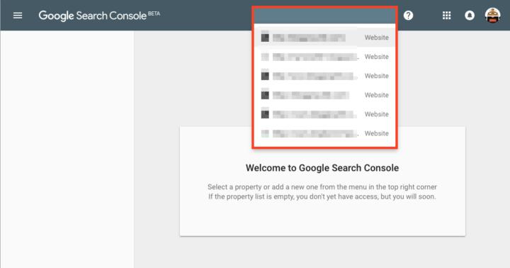 新しいSearch Consoleで利用可能なプロパティのリスト