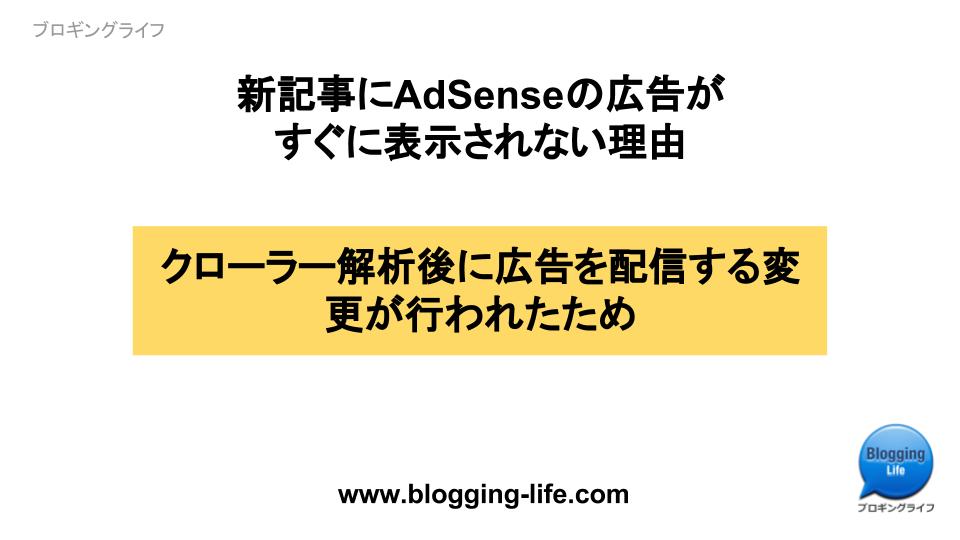 新記事にAdSenseの広告がすぐに表示されない理由