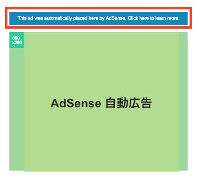 AdSense 自動広告の上に表示されたメッセージ