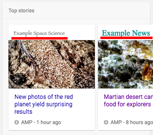 AMP トップストーリー検索表示例