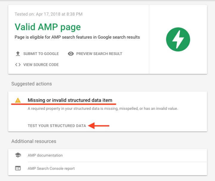 AMP テストの警告メッセージ