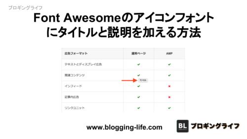 Font Awesomeのアイコンにタイトルと説明を加える方法
