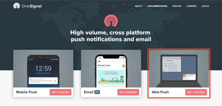 OneSignalホームページでWeb Pushをクリックします。