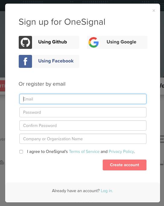 OneSignalのアカウント登録