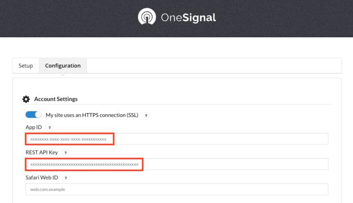 サイトのAPP IDとAPI キーを貼付けます